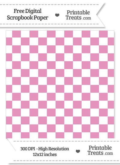 Pastel Bubblegum Pink Checkered Pattern Digital Paper from PrintableTreats.com