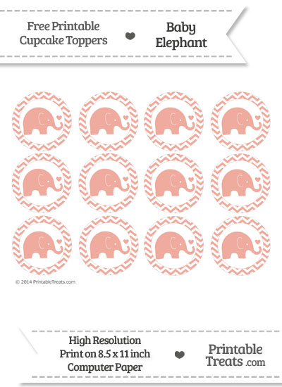 Pastel Coral Baby Elephant Chevron Cupcake Toppers from PrintableTreats.com