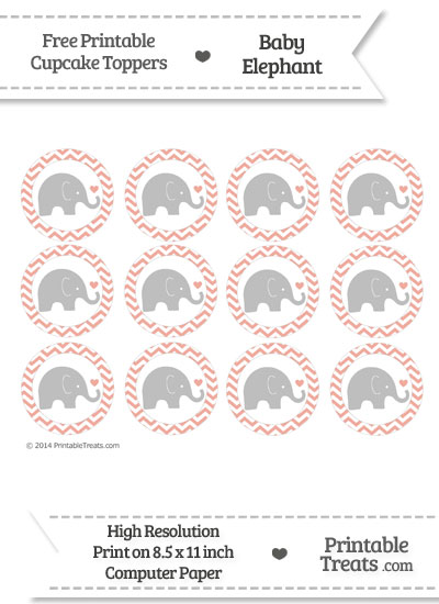 Pastel Coral Chevron Baby Elephant Cupcake Toppers from PrintableTreats.com