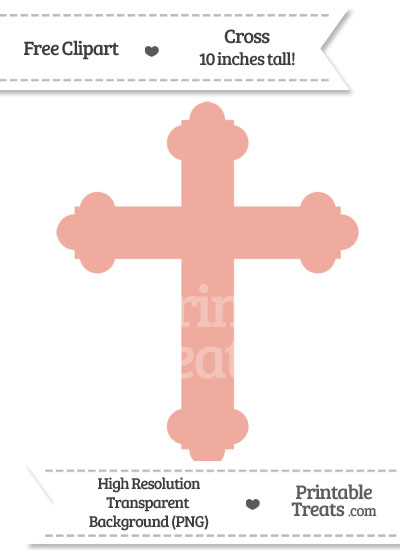 Pastel Coral Cross Clipart from PrintableTreats.com