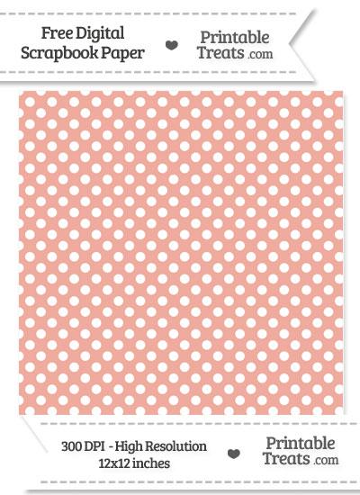 Pastel Coral Polka Dot Digital Paper from PrintableTreats.com