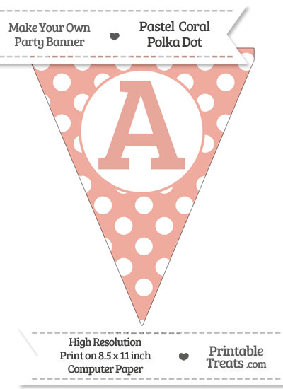Pastel Coral Polka Dot Pennant Flag Capital Letter A from PrintableTreats.com
