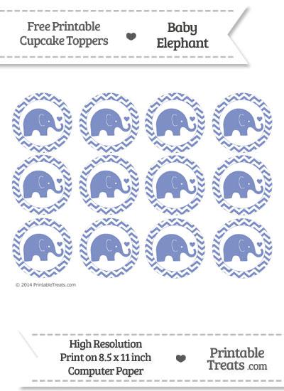 Pastel Dark Blue Baby Elephant Chevron Cupcake Toppers from PrintableTreats.com