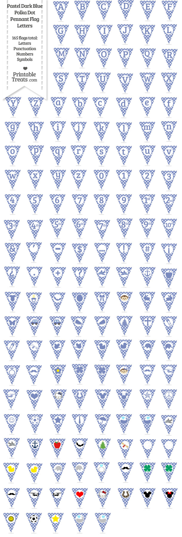 Pastel Dark Blue Polka Dot Pennant Flag Letters Download from PrintableTreats.com