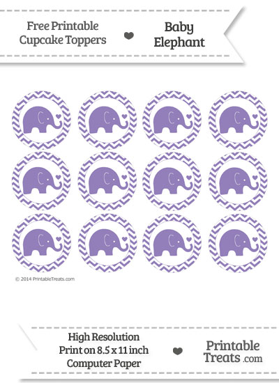Pastel Dark Plum Baby Elephant Chevron Cupcake Toppers from PrintableTreats.com