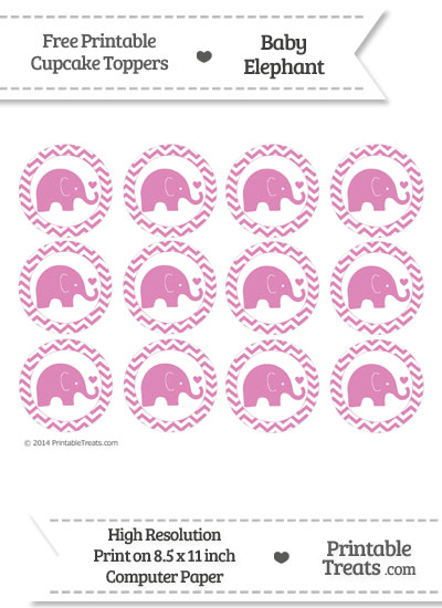 Pastel Fuchsia Baby Elephant Chevron Cupcake Toppers from PrintableTreats.com