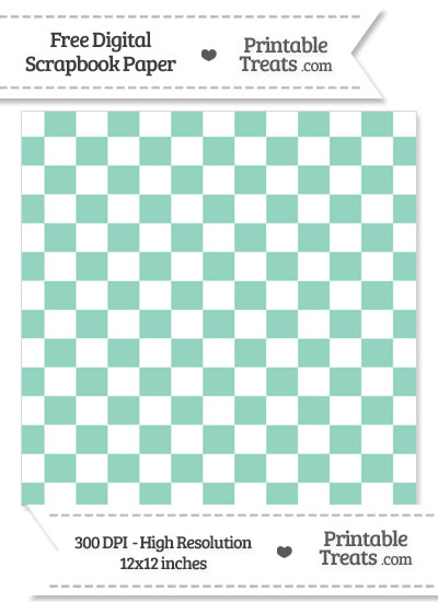 Pastel Green Checkered Pattern Digital Paper from PrintableTreats.com
