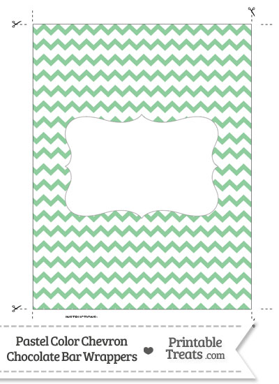 Pastel Green Chevron Chocolate Bar Wrappers from PrintableTreats.com
