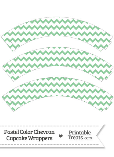 Pastel Green Chevron Cupcake Wrappers from PrintableTreats.com