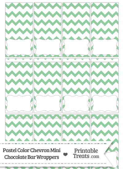 Pastel Green Chevron Mini Chocolate Bar Wrappers from PrintableTreats.com