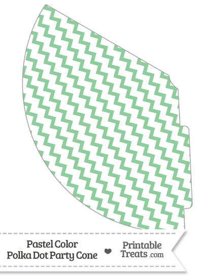 Pastel Green Chevron Party Cone from PrintableTreats.com