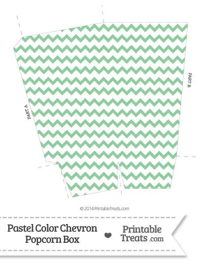 Pastel Green Chevron Popcorn Box from PrintableTreats.com
