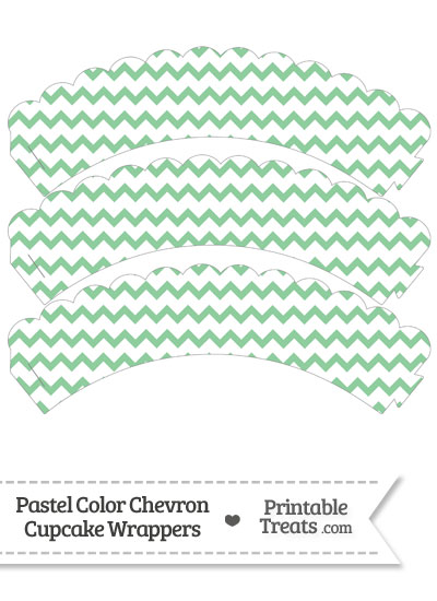 Pastel Green Chevron Scalloped Cupcake Wrappers from PrintableTreats.com