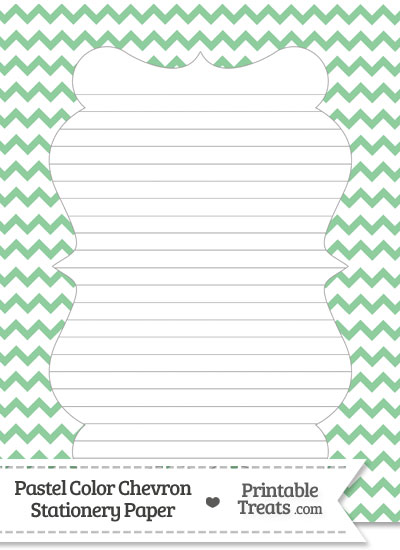 Pastel Green Chevron Stationery Paper from PrintableTreats.com
