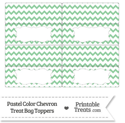 Pastel Green Chevron Treat Bag Toppers from PrintableTreats.com