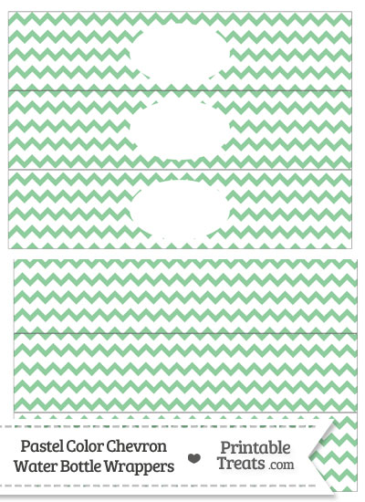 Pastel Green Chevron Water Bottle Wrappers from PrintableTreats.com