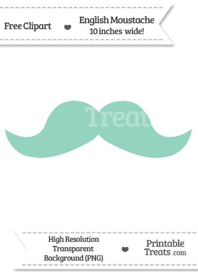 Pastel Green English Mustache Clipart from PrintableTreats.com