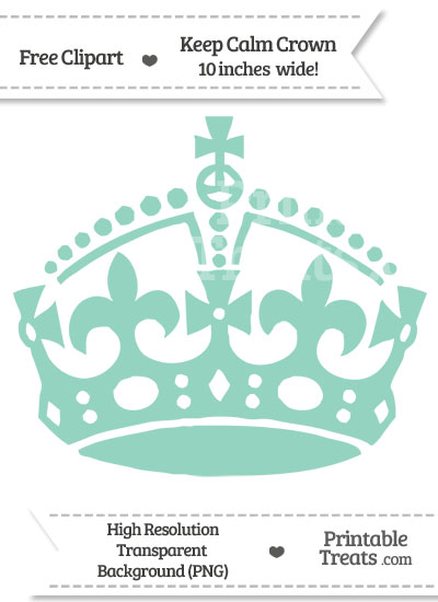 Pastel Green Keep Calm Crown Clipart from PrintableTreats.com