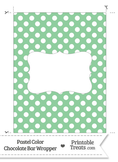 Pastel Green Polka Dot Chocolate Bar Wrappers from PrintableTreats.com