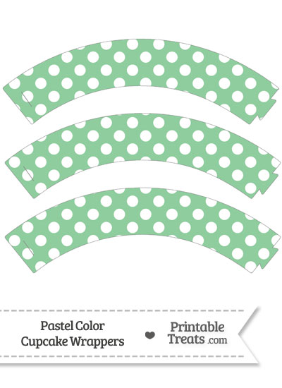 Pastel Green Polka Dot Cupcake Wrappers from PrintableTreats.com