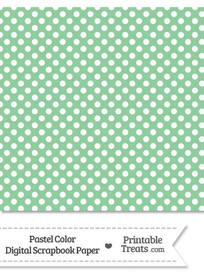 Pastel Green Polka Dot Digital Scrapbook Paper from PrintableTreats.com