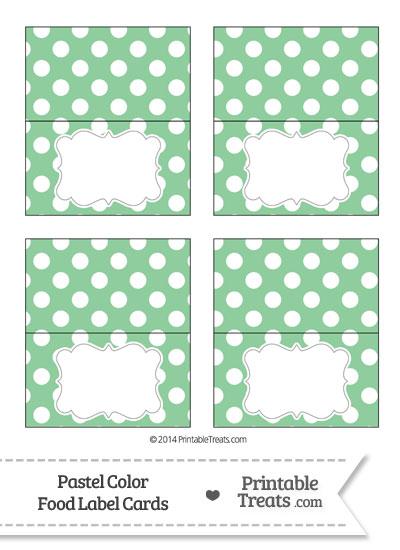 Pastel Green Polka Dot Food Labels from PrintableTreats.com