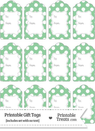 Pastel Green Polka Dot Gift Tags from PrintableTreats.com