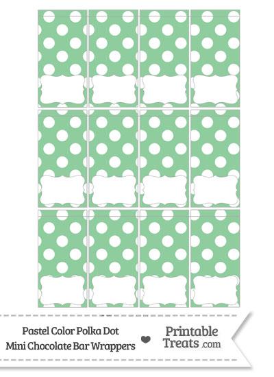 Pastel Green Polka Dot Mini Chocolate Bar Wrappers from PrintableTreats.com
