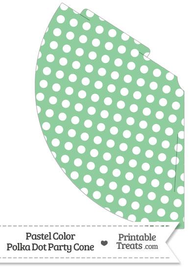 Pastel Green Polka Dot Party Cone from PrintableTreats.com