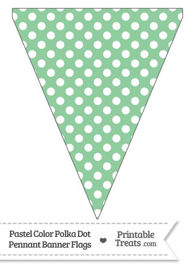 Pastel Green Polka Dot Pennant Banner Flag from PrintableTreats.com