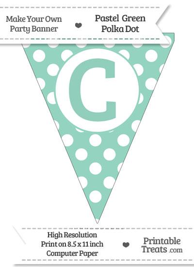 Pastel Green Polka Dot Pennant Flag Capital Letter C from PrintableTreats.com