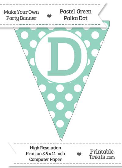 Pastel Green Polka Dot Pennant Flag Capital Letter D from PrintableTreats.com
