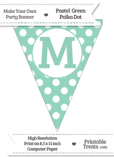 Pastel Green Polka Dot Pennant Flag Capital Letter M from PrintableTreats.com
