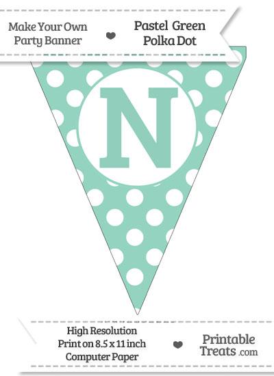 Pastel Green Polka Dot Pennant Flag Capital Letter N from PrintableTreats.com