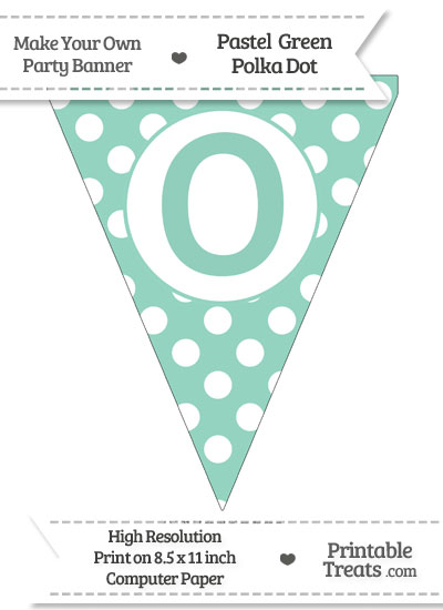 Pastel Green Polka Dot Pennant Flag Capital Letter O from PrintableTreats.com