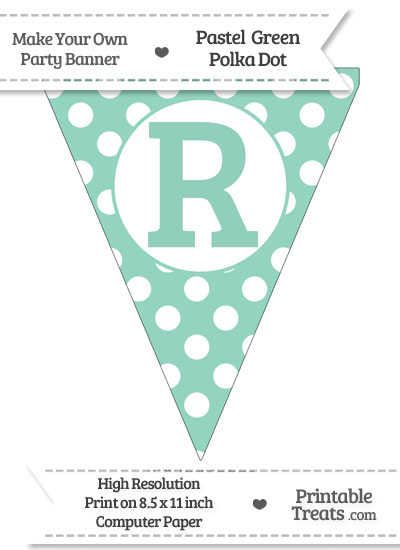 Pastel Green Polka Dot Pennant Flag Capital Letter R from PrintableTreats.com