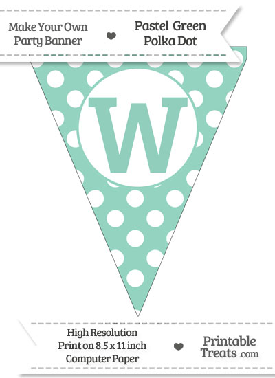 Pastel Green Polka Dot Pennant Flag Capital Letter W from PrintableTreats.com