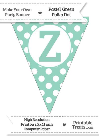Pastel Green Polka Dot Pennant Flag Capital Letter Z from PrintableTreats.com