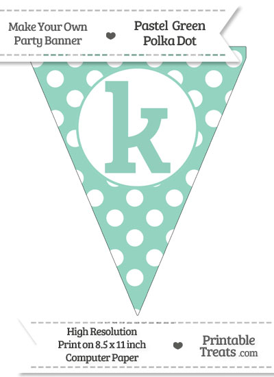 Pastel Green Polka Dot Pennant Flag Lowercase Letter K from PrintableTreats.com
