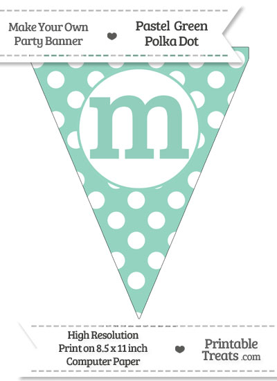 Pastel Green Polka Dot Pennant Flag Lowercase Letter M from PrintableTreats.com