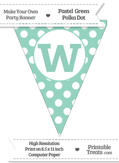 Pastel Green Polka Dot Pennant Flag Lowercase Letter W from PrintableTreats.com