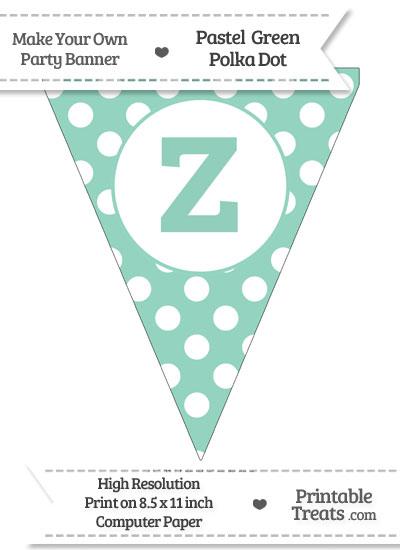 Pastel Green Polka Dot Pennant Flag Lowercase Letter Z from PrintableTreats.com