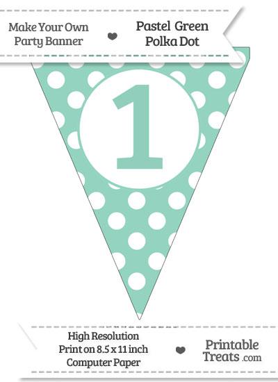Pastel Green Polka Dot Pennant Flag Number 1 from PrintableTreats.com