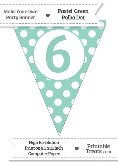 Pastel Green Polka Dot Pennant Flag Number 6 from PrintableTreats.com