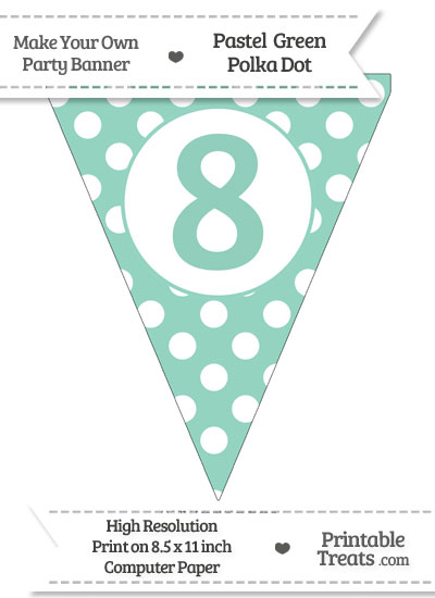 Pastel Green Polka Dot Pennant Flag Number 8 from PrintableTreats.com