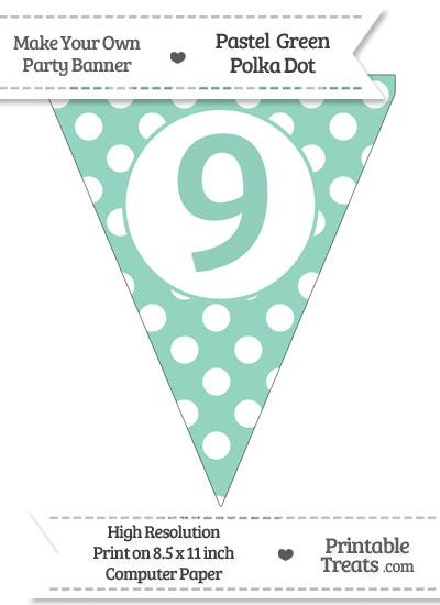 Pastel Green Polka Dot Pennant Flag Number 9 from PrintableTreats.com