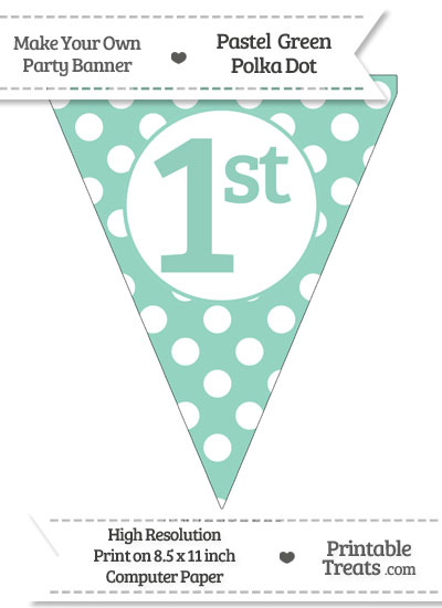 Pastel Green Polka Dot Pennant Flag Ordinal Number 1st from PrintableTreats.com