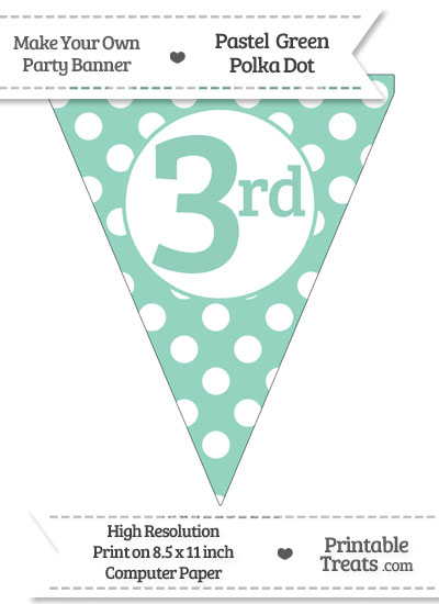 Pastel Green Polka Dot Pennant Flag Ordinal Number 3rd from PrintableTreats.com