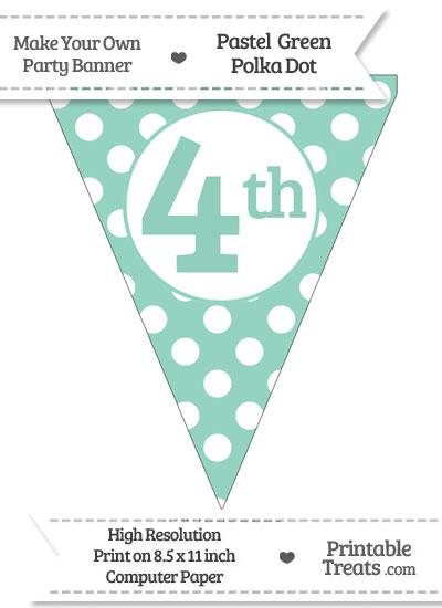 Pastel Green Polka Dot Pennant Flag Ordinal Number 4th from PrintableTreats.com