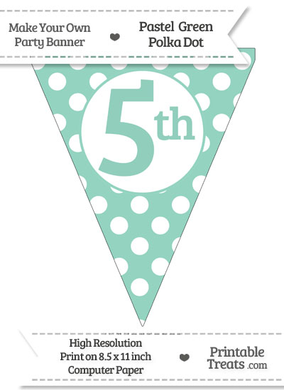 Pastel Green Polka Dot Pennant Flag Ordinal Number 5th from PrintableTreats.com